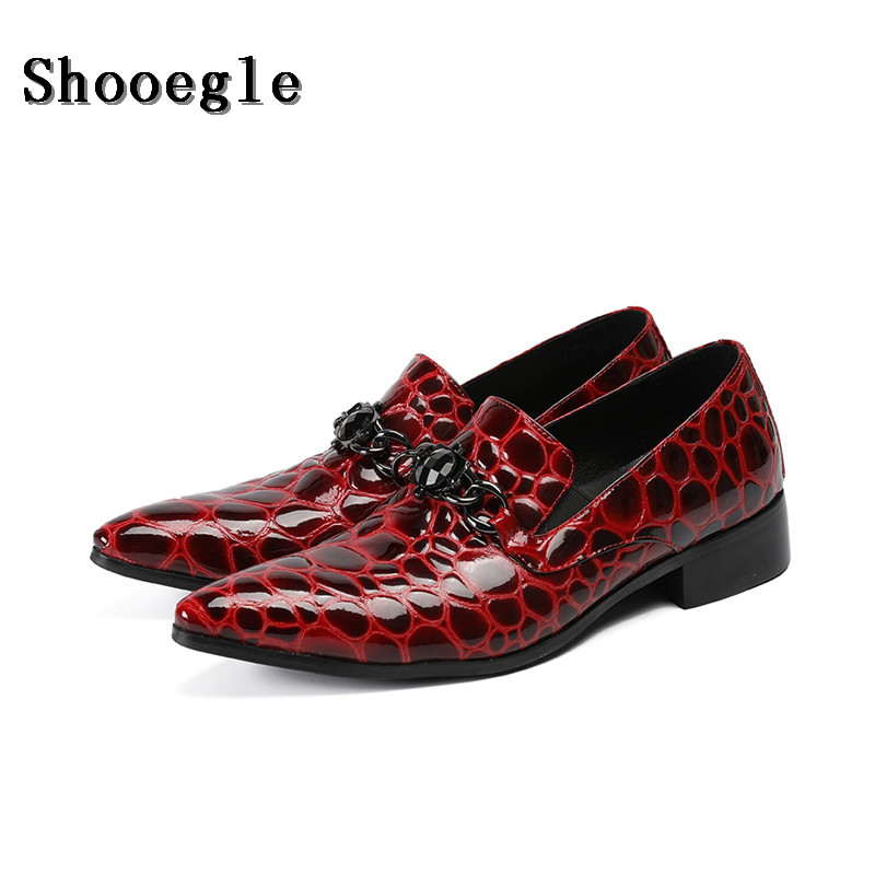 SHOOEGLE Men Red Patent Leather Party Shoes Luxury Pointed Toe Wedding Shoes Man Flats Nightclub Shoes Loafers BIG Size 37-47 plus size pointed toe slip on man glitter punk loafers luxury genuine leather studded wedding party men s runway shoes sl31