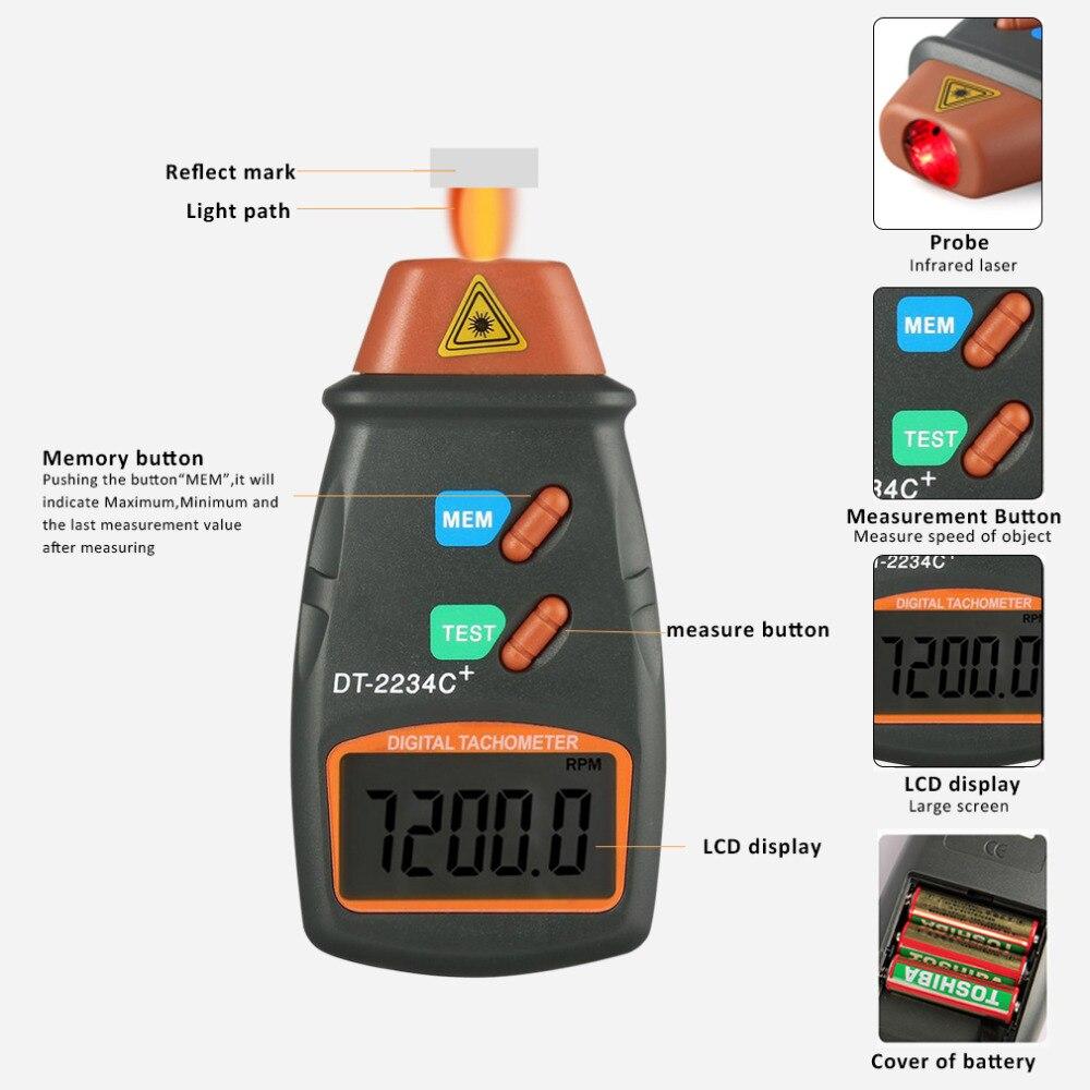 Nuevo láser Digital tacómetro sin contacto RPM tacómetro Digital láser tacómetro velocímetro velocidad del coche del motor ACCESORIOS