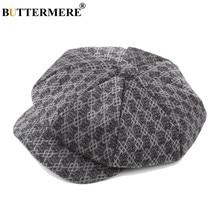1073486e8c6e8 BUTTERMERE Plaid Beret Hats Newsboy Men Grey Winter Flat Cap Painters Female  Vintage Checkered British Wool