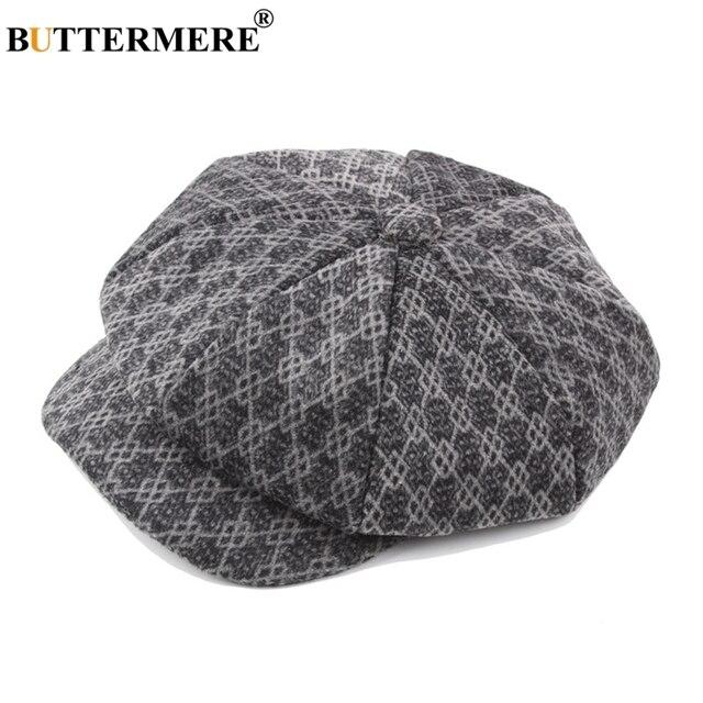 BUTTERMERE Plaid Beret Hats Newsboy Men Grey Winter Flat Cap Painters  Female Vintage Checkered British Wool Duckbill Caps 764234be7746