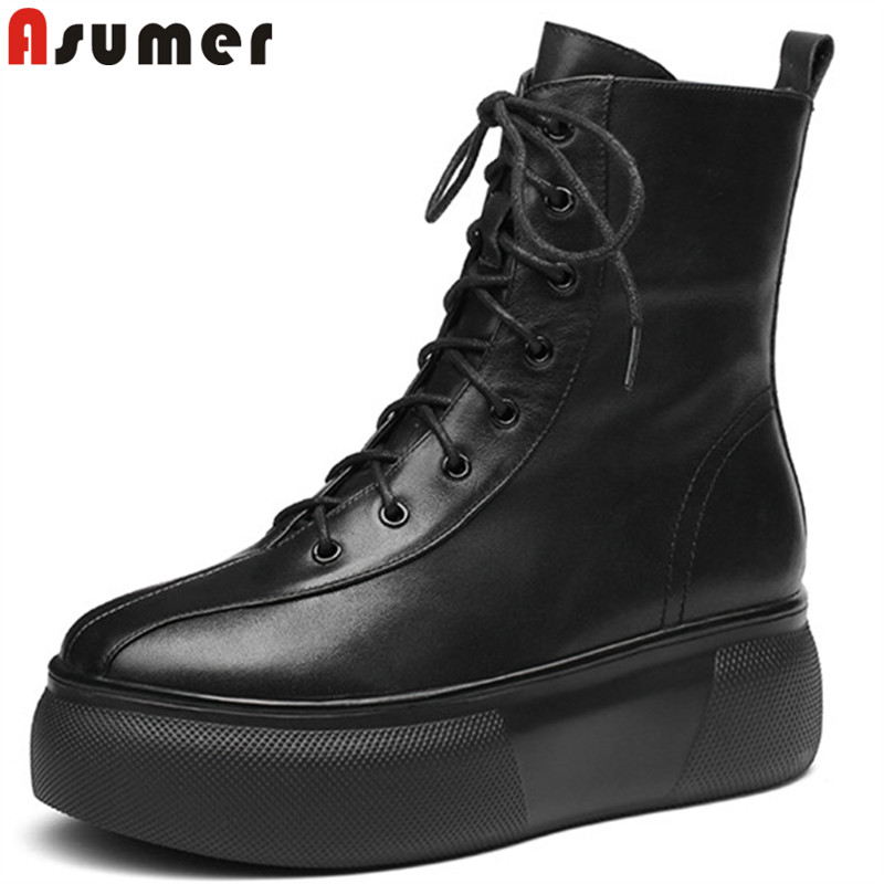 ASUMER 2018 fashion autumn winter boots women round toe zip ankle boots for women lace up ladies genuine leather boots