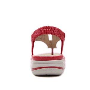 Image 4 - TIMETANGSummer แพลตฟอร์ม Flip Flops ผู้หญิงชายหาดรองเท้าแตะหนังนุ่มสบายรองเท้าส้นสูงรองเท้าโลหะขนาดใหญ่