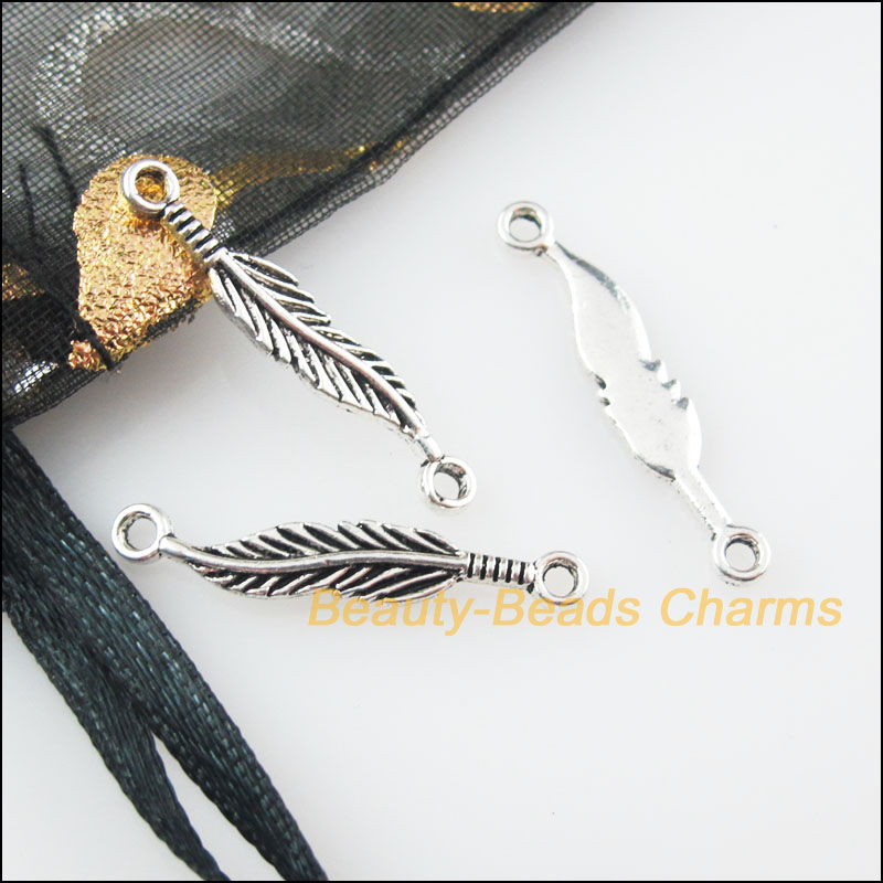 Tibetan Silver Feather  Leaf  Charms Jewellery Pendant Silver 30pcs