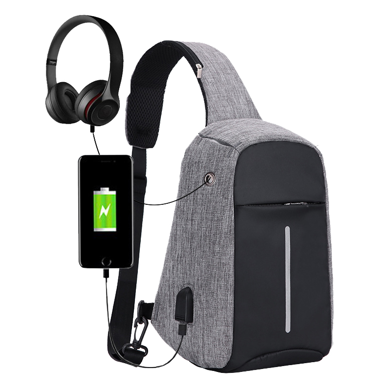Men Shoulder Bag USB Chest Pack Anti Theft Single Shoulder Strap Crossbody Bags for Women Sling Canvas Back Pack Travel