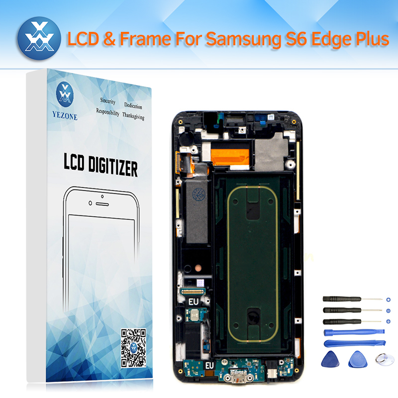AAA OLED LCD Affichage pour Samsung Galaxy S6 Bord Plus G928 G928F LCD Écran Tactile Digitizer Cadre Assemblée Remplacement + outil