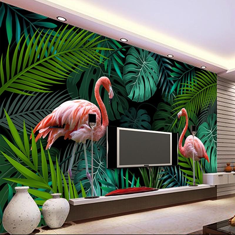Custom Mural 3D Wallpaper European Hand-painted Tropical Rainforest Flamingo Pastoral Living Room Sofa Background Wall Painting