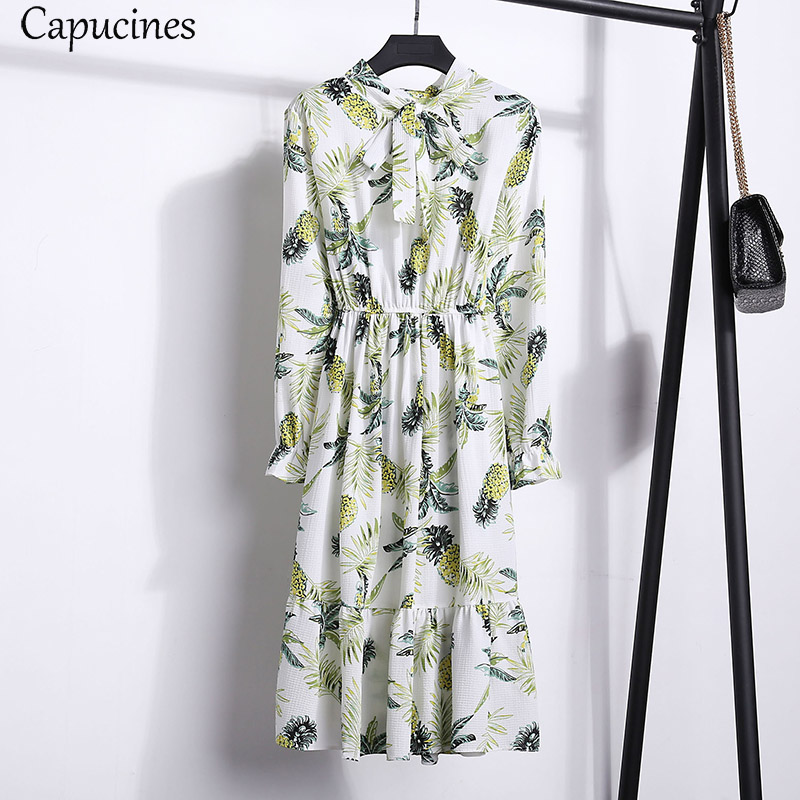 2018 Autumn Bowknot Chiffon Floral Print Dress Women Long Sleeve Elastic Waist Knee Length A line Slim Beach Casual Dresses