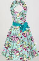 Boutique Dresses Online Blue Floral Print Vintage Design 50s 60s Clothing Rockabilly Pinup Girl Robe Dresses
