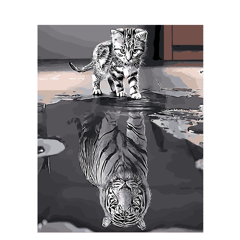 Buy Online  Painting By Numbers DIY Dropshipping 40x50 50x65cm Reflection Cat Animal Canvas Wedding Decoration