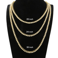 Hiphop 1 Row 5mm Round Cut Tennis Necklace Chain 20inch 30inch Iced Out Bling Lion Long