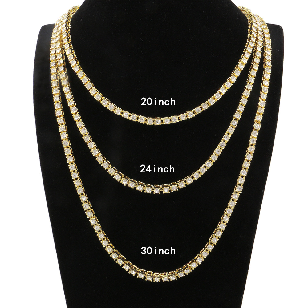 Hiphop 1 Row 5mm Round Cut Tennis Necklace Chain 20inch