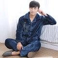 Hombres Pijamas Hombres Sólidos Sexy Pijamas Masculinos 2016 Nueva Moda Llena Caliente Coral de Invierno ropa de Hombre Traje de Muebles Para El Hogar engrosamiento