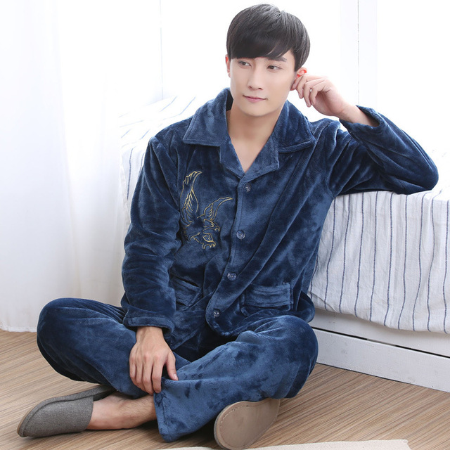 Mens Pajamas Solid Men Sexy Male Pajamas 2016 Full New Fashion Hot Winter Coral Men's Clothing Suit Home Furnishing Thickening