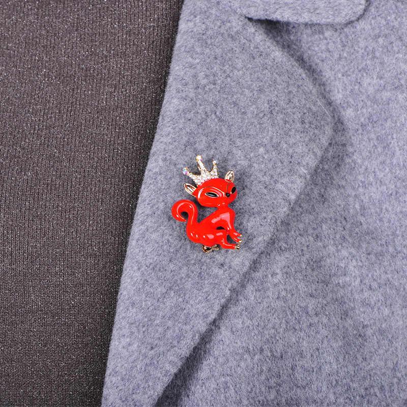 Blucome Carino Volpe Animale Spilla Della Lega Dello Smalto Dei Monili di Cristallo per Le Donne Degli Uomini Dei Bambini di Abbigliamento Sciarpa Del Sacchetto Del Vestito Spilli Accessori Regalo