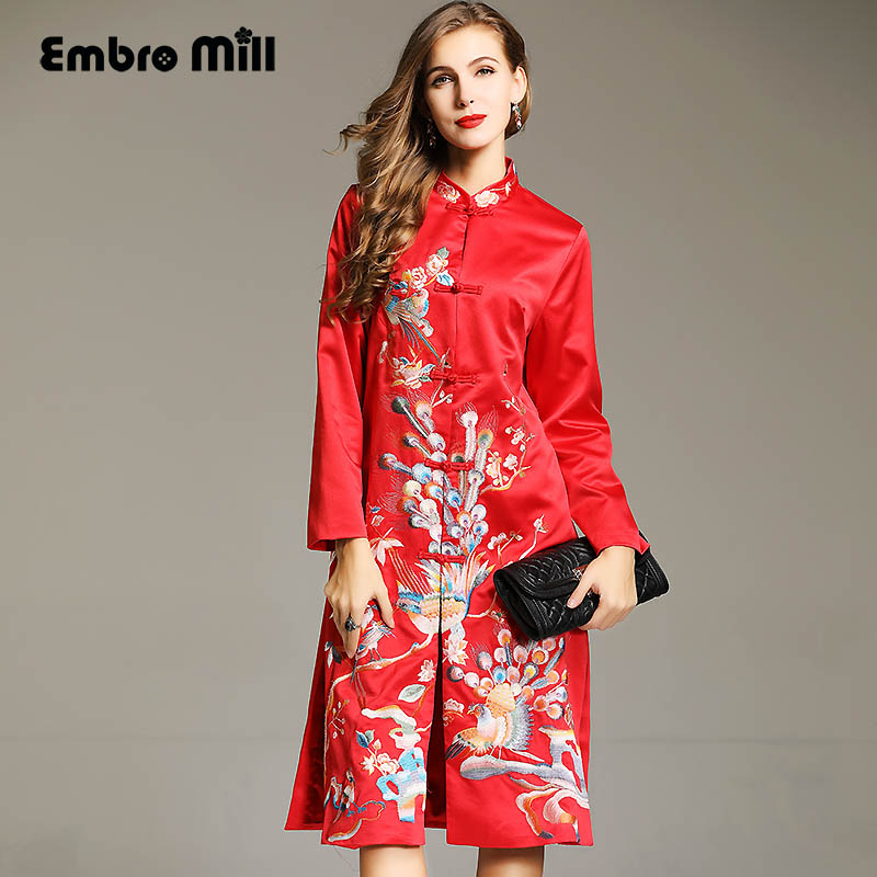 High quality runway women long   trench   coat autumn and winter vintage royal embroidery windbreaker women overcoat female M-XXXL