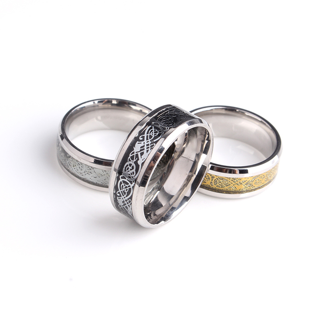 Carbon Fiber Dragon Wedding Rings For Women Gold Color Silver 316L Stainless Steel Men Jewelry Wholesale