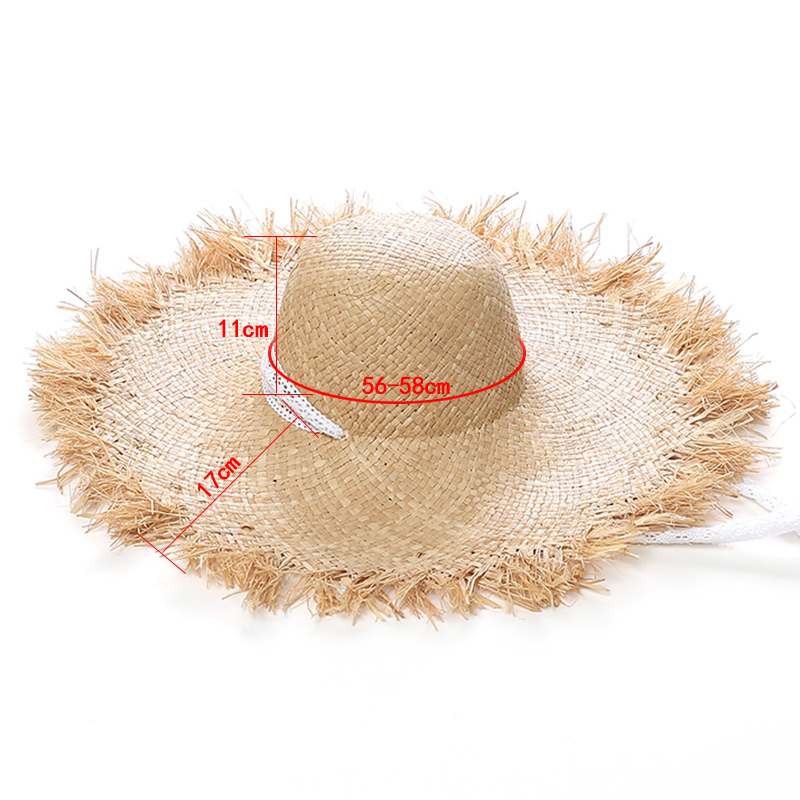 Lace Strap Straw hat Bow Wide Grass Female Summer Cap Beach Visor Beach Sun Protection hat