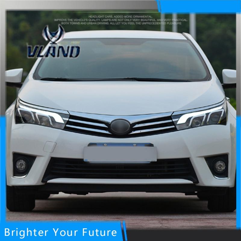 Headlights For Toyota Corolla 2014 2015 Head Lamps Assembly Metal Lightbar