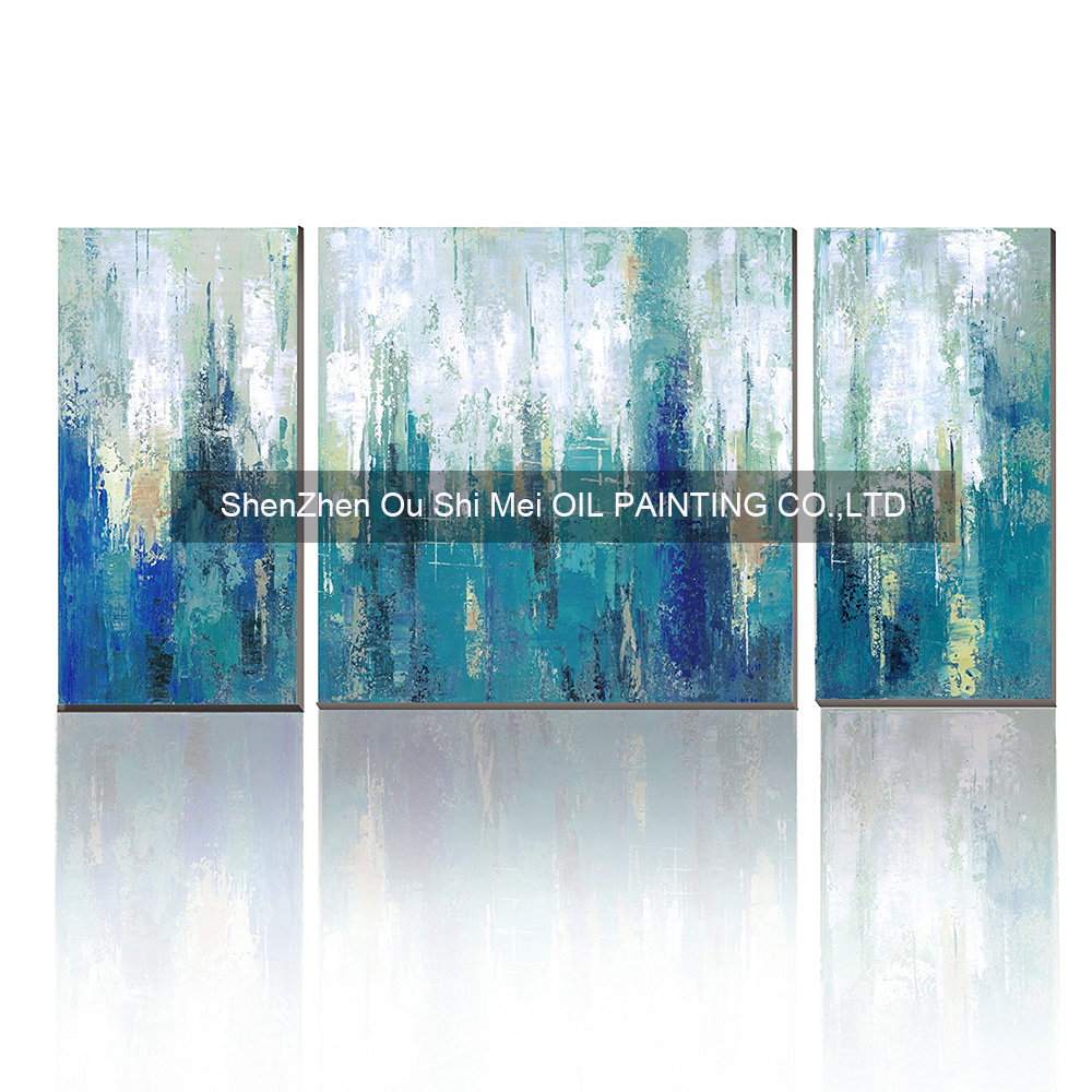 Handgemalte moderne abstrakte grüne Malerei auf Leinwand Ölgemälde - Wohnkultur