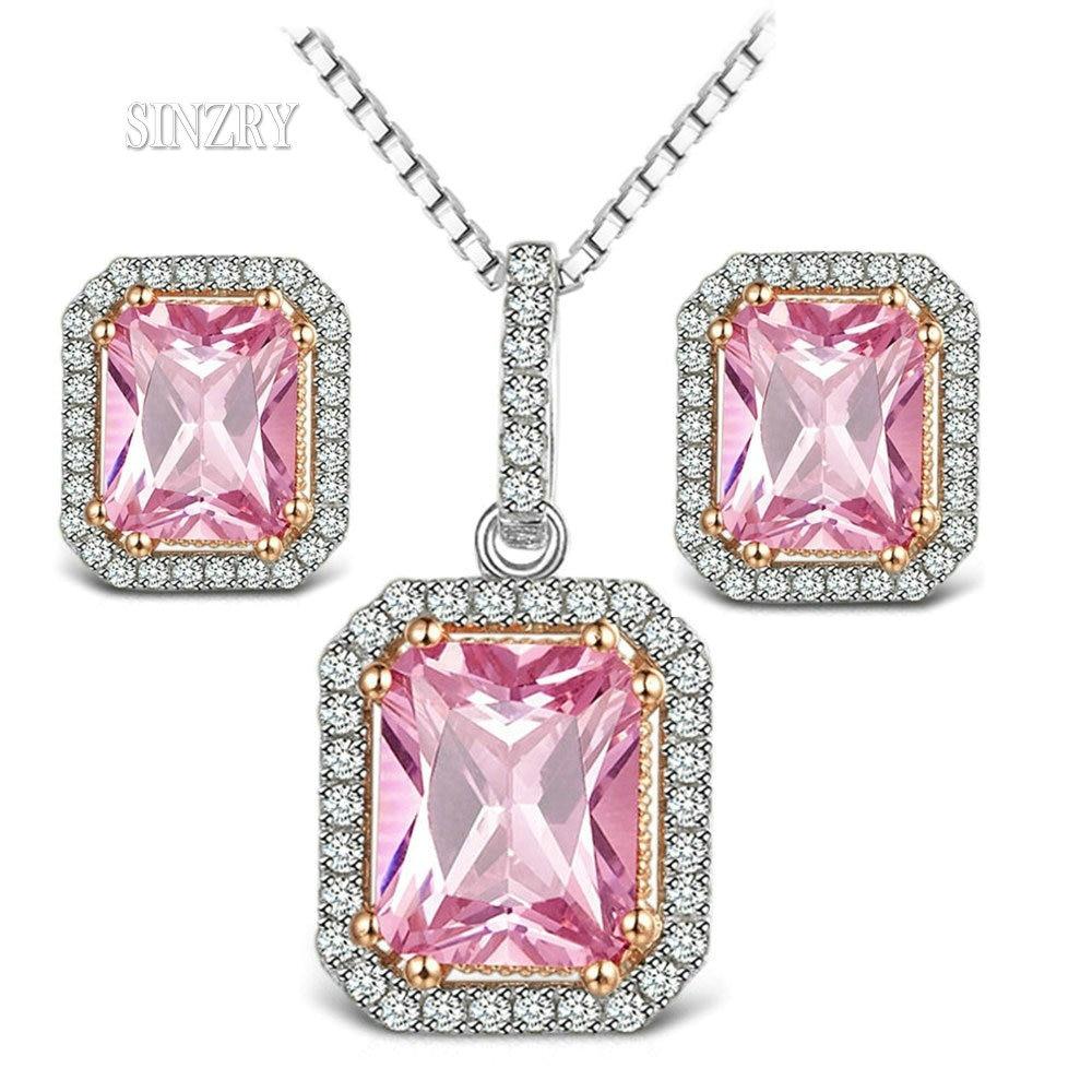SINZRY 2018 Luxury jewelry Cubic Zirconia crystal Necklace Earring Set Pink sweety vintage geometry jewelry set for Women