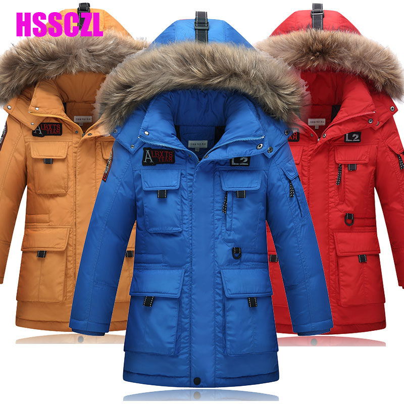 2016 new boys down jacket for children coats winter thicken hooded fur collar boy jackets outerwear overcoat warm male kids coat 2017 winter down jackets for boys