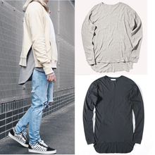 new fashino hip hop men 's extended curved hem before long after short cotton Long sleeve T-shirt solid foundation Europe street