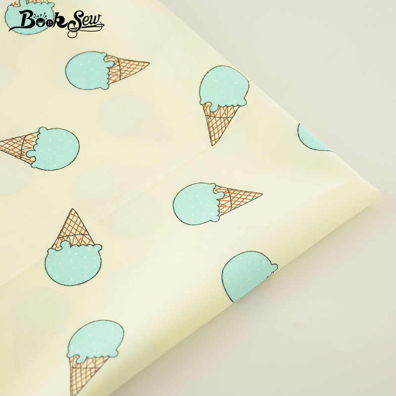 2017 Cotton Twill Fabric Flavescent Color Green Ice-cream Pattern Home Textile Quilting Fabric Tissue Swing Bedding Garment
