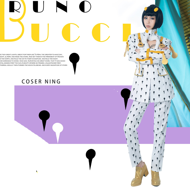 Anime JOJO JoJo's Bizarre Encyclopedia Bruno Bucciarati Cosplay Costume halloween costume