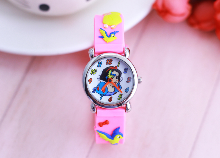 Children's Gift Watch Quartz 3D Strap Cartoon Snow White Watch Pointer Fashion Electronic Waterproof Watch Children's Watch