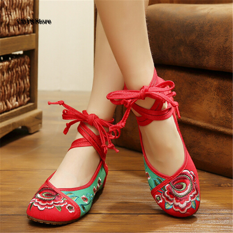 CDTS Plus:34-41 Summer rich peony beijing cotton-made embroidered shoes low-heeled elevator national trend dance mother Flats