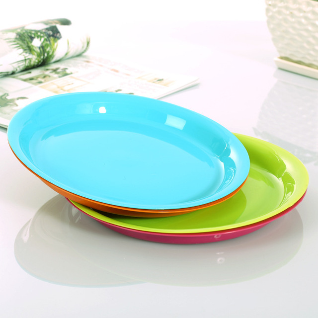 1PC 4 Colors High quality FDA PP plastic tray plastic circular plate creative simple candy color & 1PC 4 Colors High quality FDA PP plastic tray plastic circular plate ...