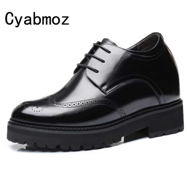 512b825252e High Platform Thick Sole Genuine Leather Height Increasing 12 CM Wedding Elevator  Shoes Man High Heels