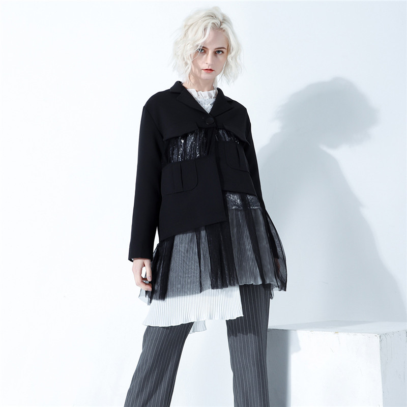 Women Jackets 2019 New European Wild Personality Splicing Mesh Gauze Casual Long Jackets Perspective Punk Gothic