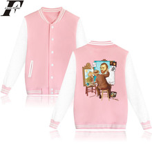 LUCKYFRIDAYF Van Gogh Triple Self Portrait Baseball Jacket Long Sleeve Spring Jacket Women Pink Fahsion Casual College Jacket