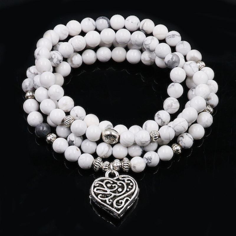 108 White Howlite Mala With Lotus Pendnent Natural Stone Beaded Bracelets For Men And Women Chakra Modern Yoga Zen Jewelry