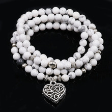 Mala Beaded-Bracelets Chakra Jewelry Howlite Natural-Stone Women 108 with Lotus-Pendnent