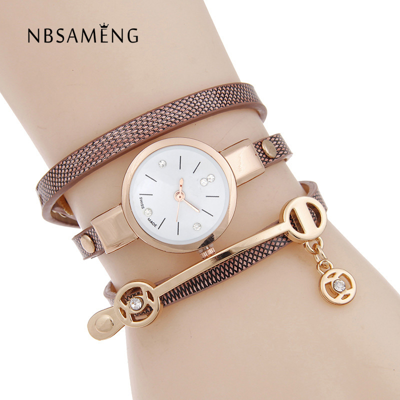 Women Brand Fashion Watch Gold Luxury Quartz Wristwatch Ladies Dress Casual Leather Bracelet Watches Small Dial Clock SBX021 brand new 2016 fashion ladies casual watches rhinestone bracelet watch women elegant quartz wristwatch silver clock