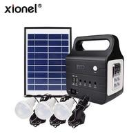Xionel DC Solar Lighting System, Solar Panel Lighting Kit,Multi function Solar Home DC System Kit with 3 LED Light Bulb
