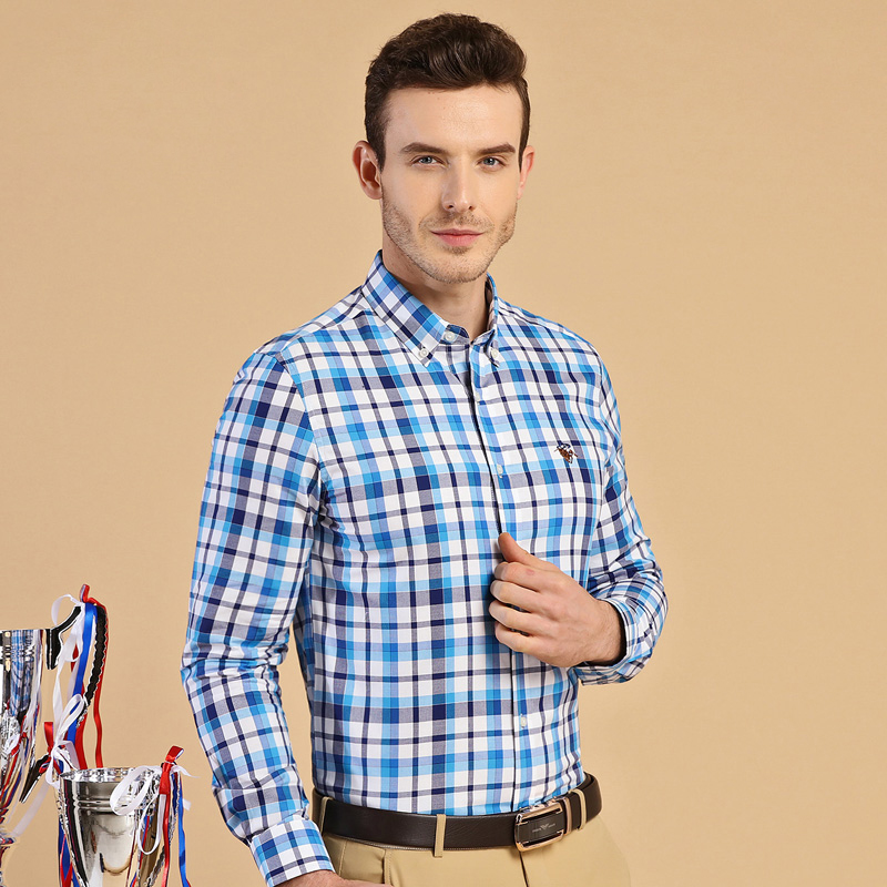 Men S Regular Fit Long Sleeve Plaid Shirt With Embroidered Logo