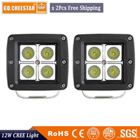 12W Spot Beam LED Work Light 12V 24V 3x3 Led Offroad Light For Boat Driving Car