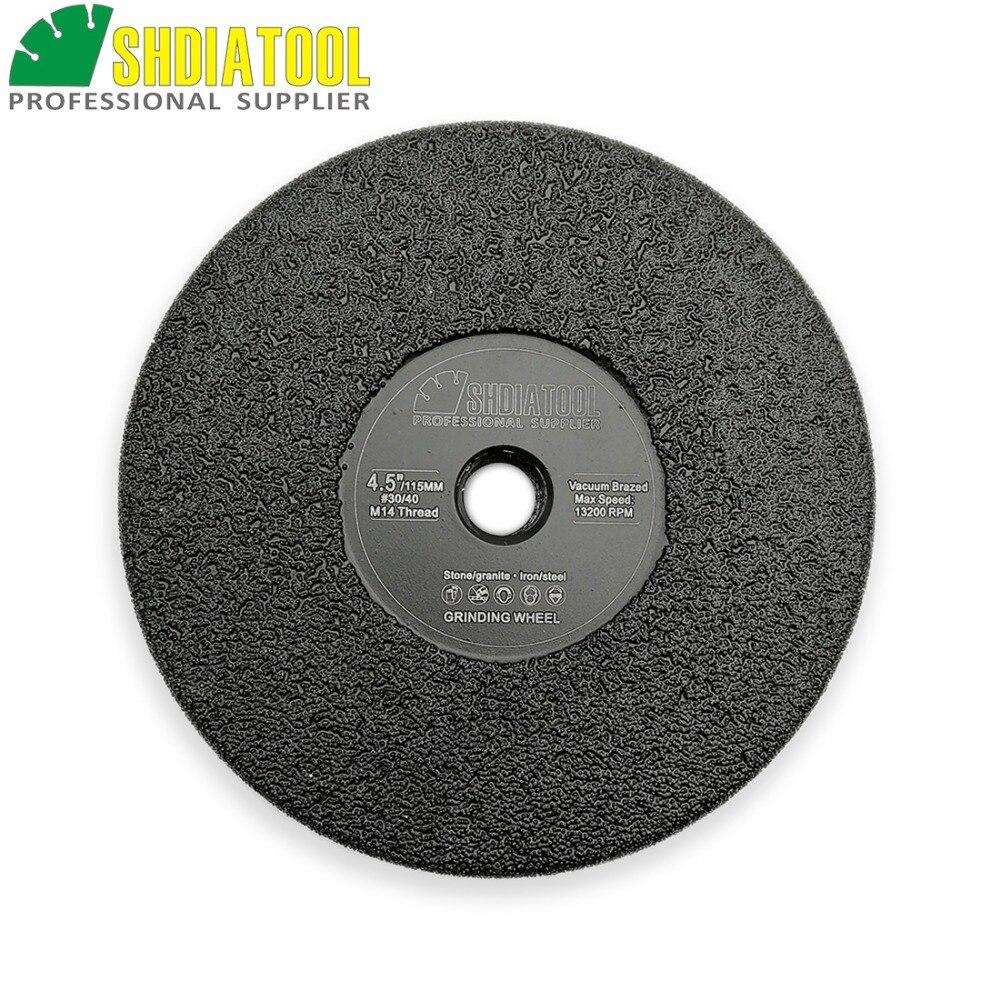 Diameter 4.5inch Vacuum Brazed diamond flat grinding wheel M14 thread Grit #30 115mm shaping beveling wheels for granite marble