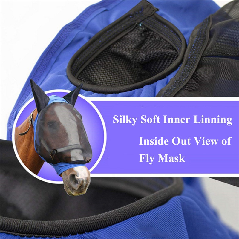 Image 5 - Pet Supplies Horse Detachable Mesh Mask With Nasal Cover Horse Fly Mask Horse Full Face Mask Anti mosquito Nose with Zipper-in Horse Care Products from Sports & Entertainment