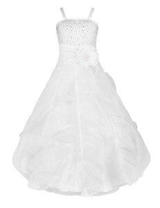 Image 4 - IEFiEL ילדים בנות רקום פרח קשת צד פורמלי כדור שמלת נשף נסיכת שושבינה חתונה ילדי טוטו שמלת גודל 2 14Y