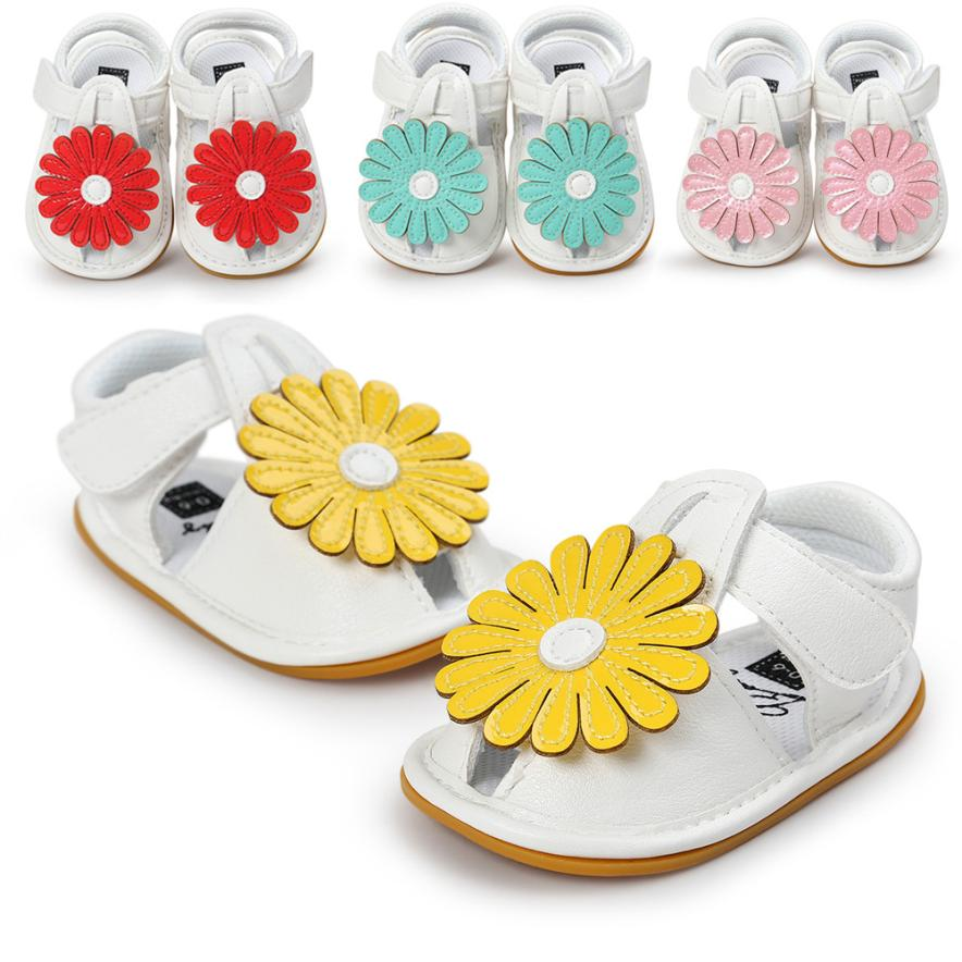 Newborn Baby Girls Baby Girl Flower Shoe Casual Shoes Sneaker Anti-slip Soft Leather Slip-on First Walker Shoes