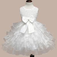 Summer Baby Kids Sleeveless Lace Floral O Neck Princess Party Infant Dress Flower Girls Bow Sundress
