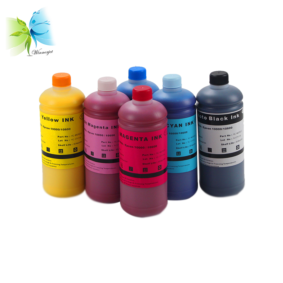 Winnerjet 1000ml per bottle BK C M Y LC LM Pigment Ink For Epson Stylus Pro 10600 with 6 colors ink in Ink Refill Kits from Computer Office