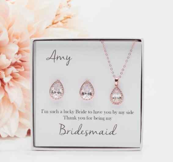 Personalize Silver Name Text Wedding Bridesmaid Teardrop Cz