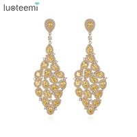 LUOTEEMI Indian Luxury Design Champagne Gold Color Teardrop Bridal Large Drop Earrings For Women Fashion