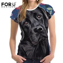 FORUDESIGNS Black Lab Sweetheart Printed T Shirt Women Cute Dog Pattern T-shirt Female O-neck Tops for Ladies Harajuku Tee