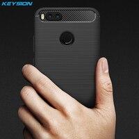 KEYSION Phone Case For Xiaomi Mi 5X Carbon Fiber Soft TPU Silicone Brushed Anti Knock Back
